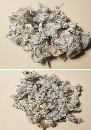 Čmeláci PLUS - Výstelka z krejčovské vaty - rozcupovaná a pak nastříhaná - foto O.Hercog