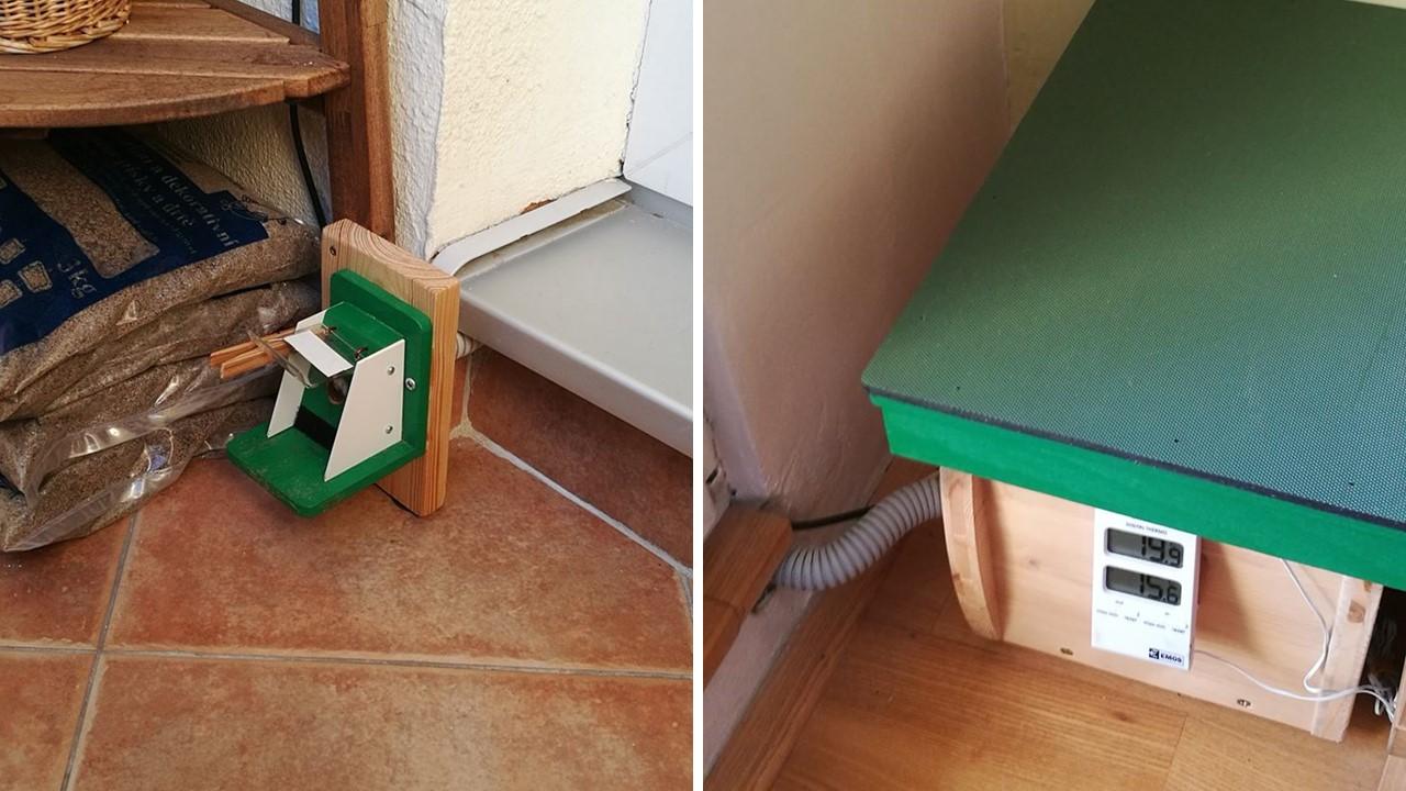 Čmeláci PLUS - Umístění ulku v interiéru s klapkou vyvedenou na balkoně