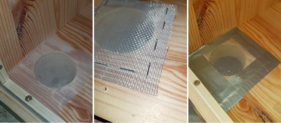 Čmeláci PLUS - Větrání úlku - doplnění o síťku z Uhelonu a o siťku z hliníkové síťoviny