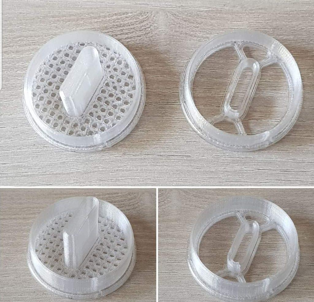 Větrání čmelího domku - příklady víčka ( krytky ) větrání s lapací pastí vytvořené pomocí 3D tiskárny
