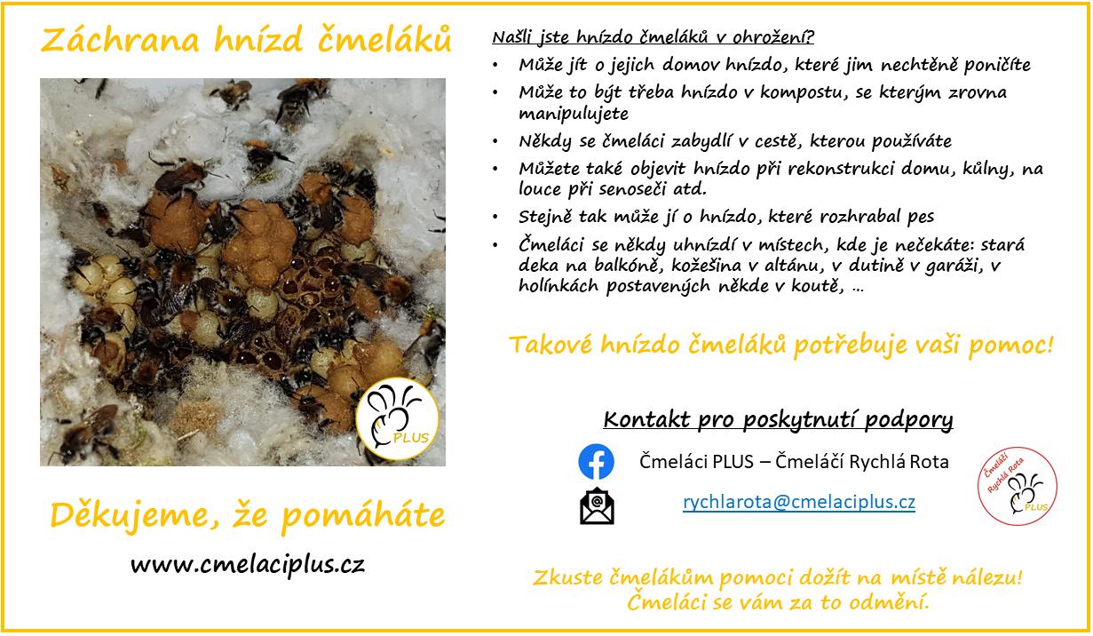 Čmelaci PLUS - Čmeláči Rychá Rota - záchrana hnízd čmeláků - leták